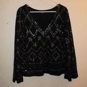 Express Embellished V-Neck Blouse Large